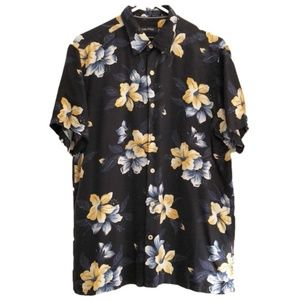Nautica 100% Silk Hawaiian Floral Shirt Blue
